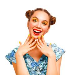 Beauty Teenager Model Girl. Beautiful Joyful teen girl