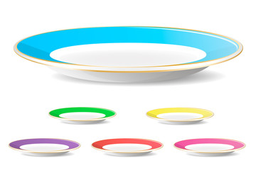 Set of color simple plates
