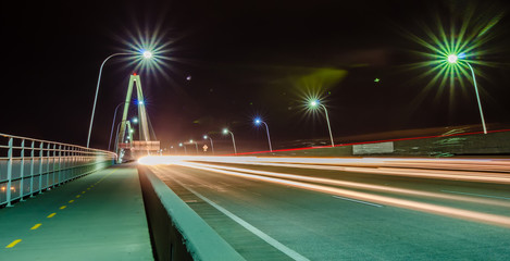 traffic commute on bridge at night long exposure