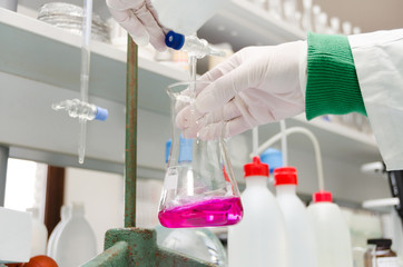 chemicals in the bottle during research in the laboratory