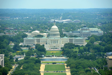 United States Capitol Building aerial View in Washington, DC