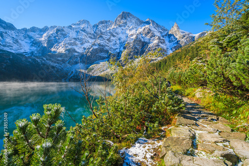 Morskie Oko lake in autumn colours, High Tatra Mountains, Poland - 73855149