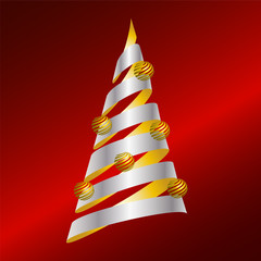 Abstract vector Christmas tree from gold and silver ribbon and g