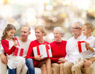 smiling family with gifts