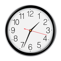 Classic round wall clock isolated.