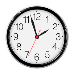 Classic round wall clock isolated on white. Vector image.