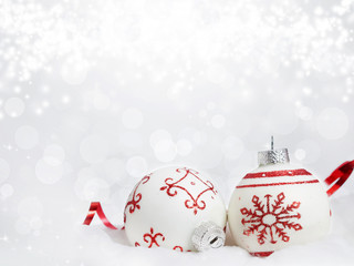 Christmas background with red decorations