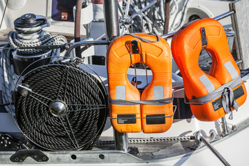 Safety equipment of modern yacht