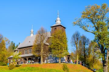 Old wooden church in Grybow village, Beskid Niski Mountains