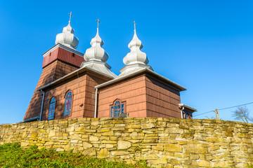 Old wooden church in Piorunka village, Beskid Niski Mountains