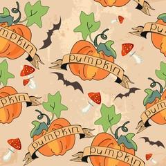 Seamless design with pumpkin