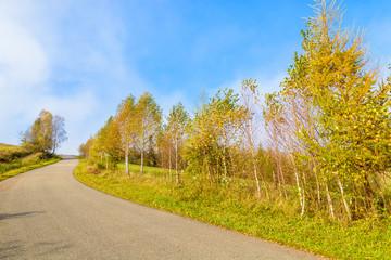 Countryside road in autumn,  Beskid Niski Mountains, Poland