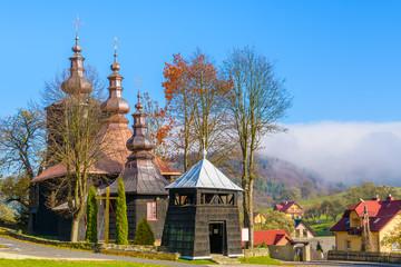 Wooden church in Banica village, Beskid Niski Mountains, Poland