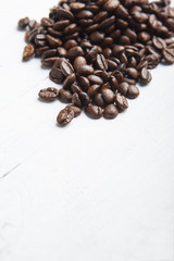 coffee beans on white board