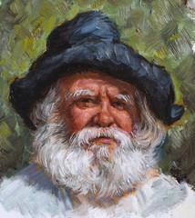 vecchio con barba bianca dipinto su tela