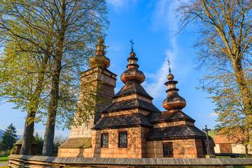 Wooden church in Kwiaton village, Beskid Niski Mountains, Poland