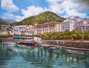paesaggio costiero dipinto ad olio