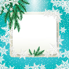 Frame, fir tree branches and snowflakes on colorful background.
