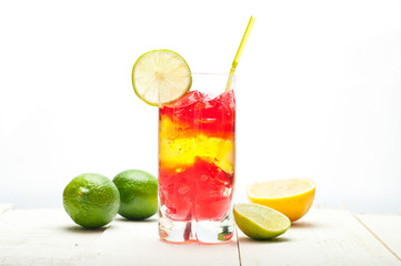 colourful coctail on the white background.
