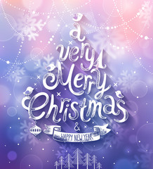 Christmas card with blurred background. Vector illustration.