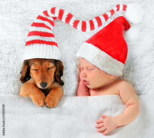 canvas print picture Christmas baby and Christmas puppy