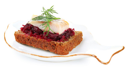 Canape herring with beets