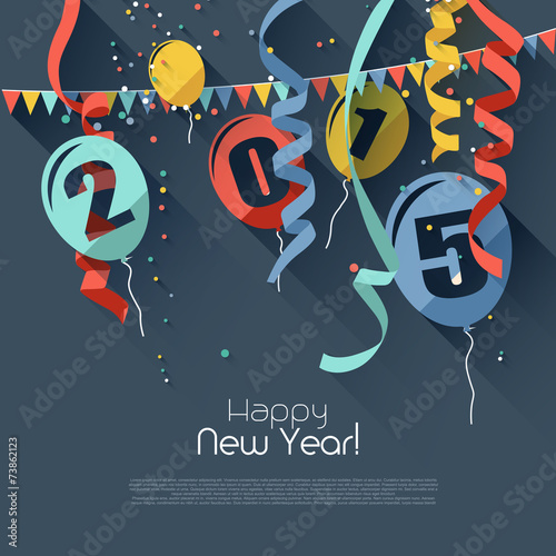 Happy New Year 2015 - modern greeting card in flat design style