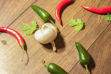 Garlic, chili and coriander