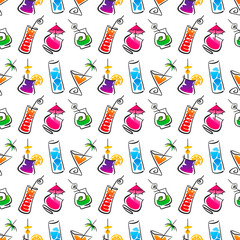 Decorative cocktail bar seamless pattern