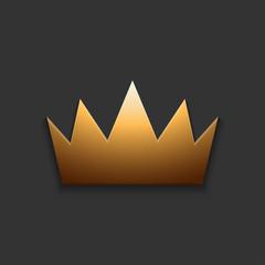 Vector modern golden crown on gray
