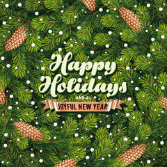 Holiday card a pine branches
