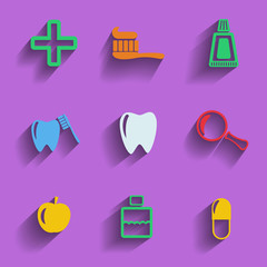 Set of 9 vector dental web and mobile icons.