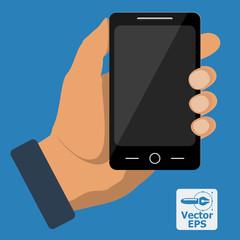 Smartphone in hand. Vector.