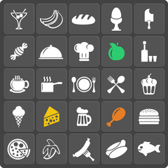 Set of 25 food web and mobile icons. Vector.