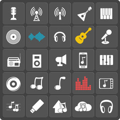 Set of 25 music web and mobile icons. Vector.