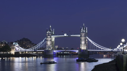 Time lapse medium close up Tower Bridge London twilight