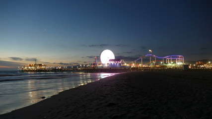 Santa Monica Beach and Pier Dusk to Night