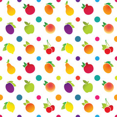 Pattern with fruit icons on a white background
