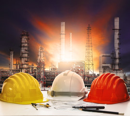 working table of  oil refinery in industry estate