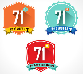 71 year birthday celebration flat design, 71st anniversary