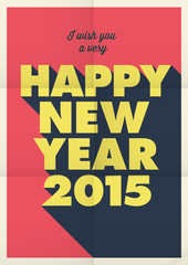 Happy new year poster, retro vintage style