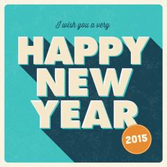 Happy new year card 2015, retro vintage style