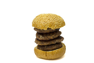 Big hamburger isolated