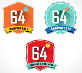 64 year birthday celebration flat design, 64th anniversary