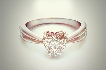 Ring with diamond  on white background