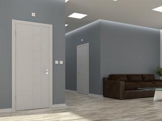 Interior scene with corridor and doors