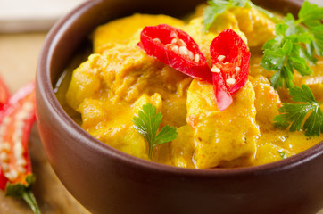 Indian chicken curry  in  bowl