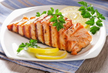 Grilled Salmon with   fresh herbs