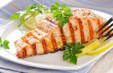 Grilled Salmon with lemon and  fresh herbs