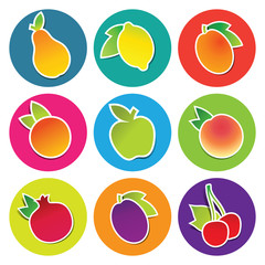 Set of fruit icons in the circles